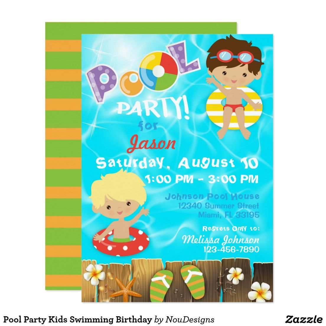 Pool Party Kids Swimming Birthday Invitation Zazzle Com