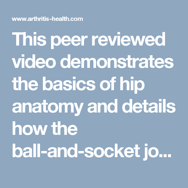 This Peer Reviewed Video Demonstrates The Basics Of Hip Anatomy And