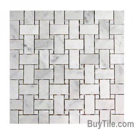 Carrara Marble Basket Weave Mosaic Tile For Floor Medium Gray