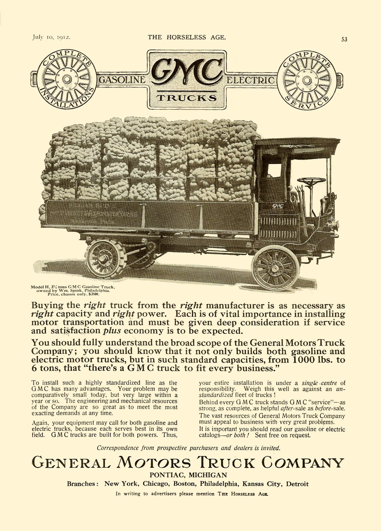1912 Gasoline Gmc Trucks Electric General Motors Truck Company Pontiac Michigan The Horseless Age Magazine Vol 30 No 2 July 1 Gmc Trucks Trucks Gmc