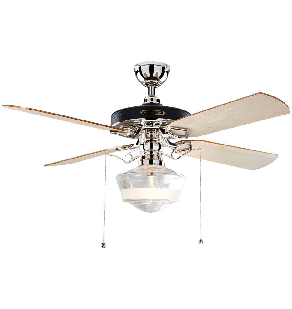 Heron Ceiling Fan With Ogee Schoolhouse Single Satin Stripe Shade Rejuvenation Ceiling Fan Ceiling Fan With Light Polished Nickel