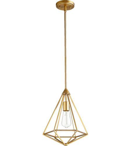 Quorum 3311 80 Bennett 1 Light 11 Inch Aged Brass Mini Pendant