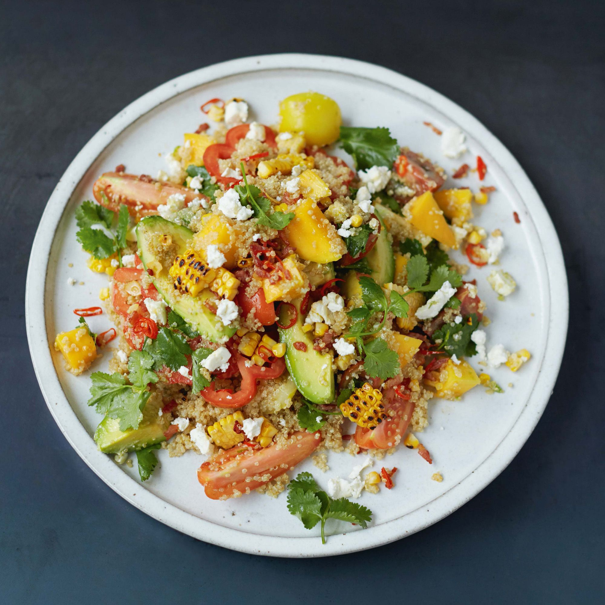 Jamie Oliver's grilled corn and quinoa salad is lovely salad that you can prepare with barbecued corn