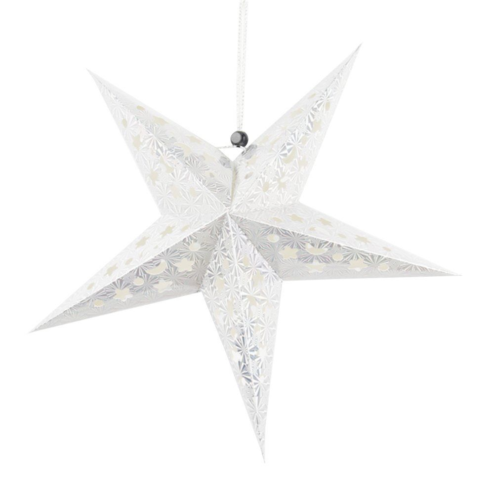 Luoem Christmas Paper Lantern Star Design Tree Hanging Decorations For Holiday Party Silver This Wish Stars Paper Star Lanterns Hanging Decor Star Lanterns