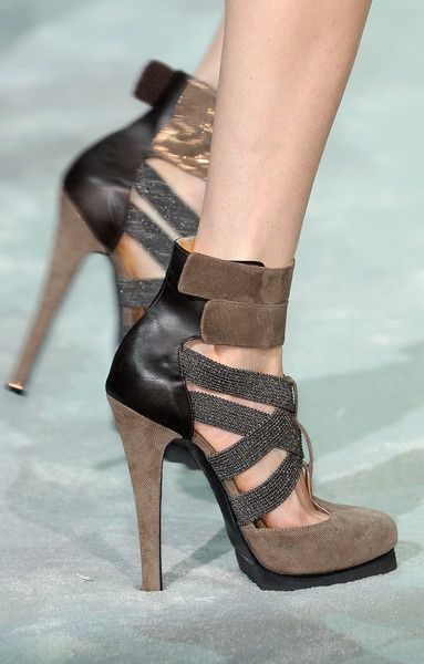 Just Cavalli Brown Strappy Platform Sandals Fall 2010 #Shoes #Heels