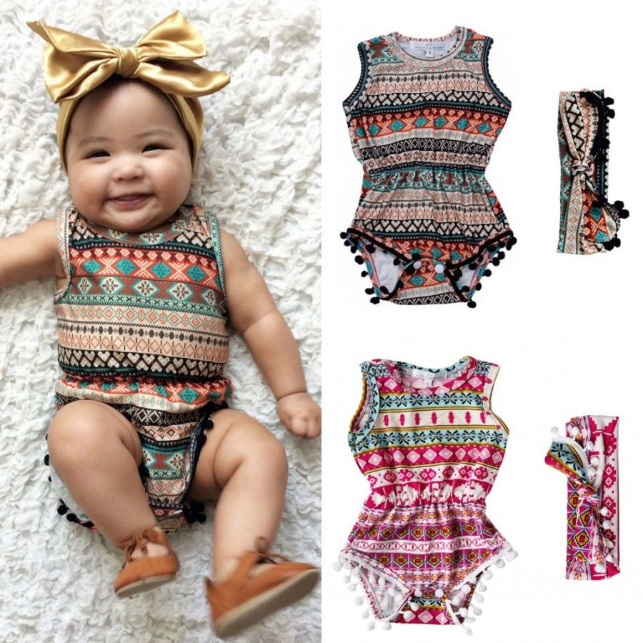 21f44d24aa9f Floral Baby Girls Classic Sleeveless Romper Bodysuit One Pieces Headband  Clothes Sunsuit Outfits