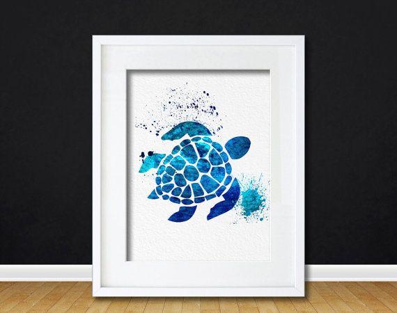 Watercolor Art Sea Turtle Sea life gift Modern 5x7 by AmourableArt