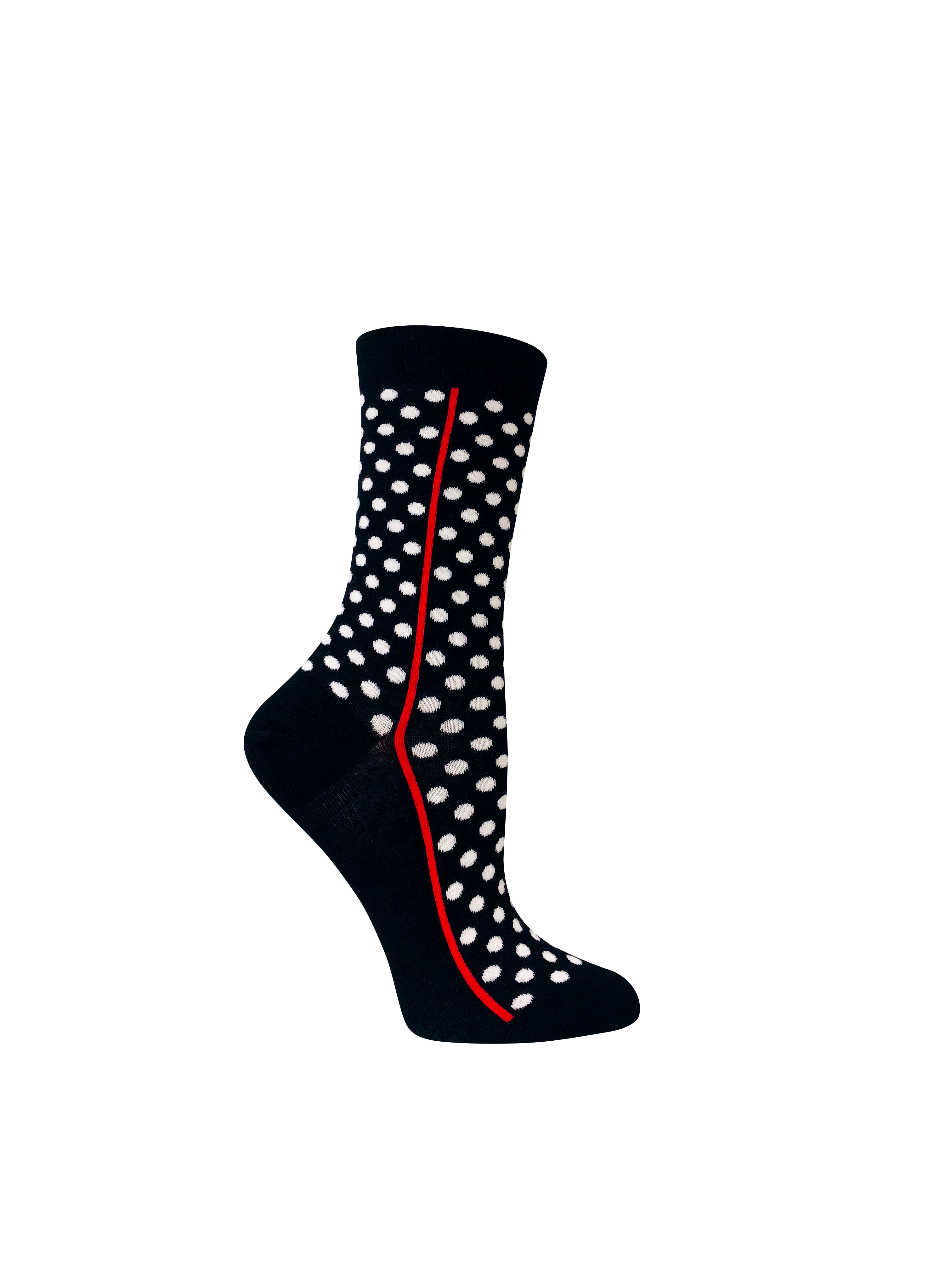 2cc2126096b8 Women's organic cotton crew socks | Red line blue with white polka dots