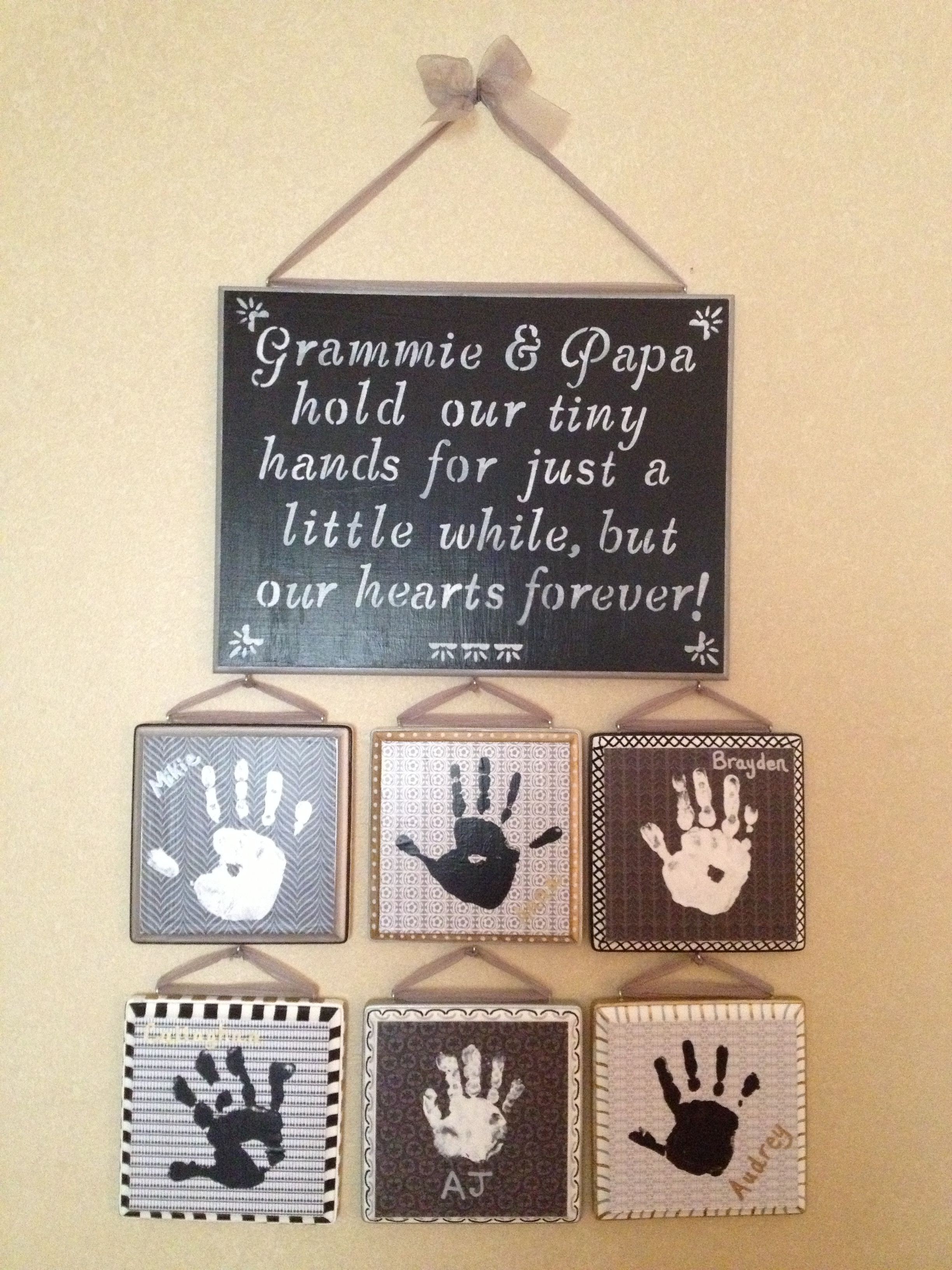 Great gift for grandparents | foot and hand print ideas | Pinterest ...