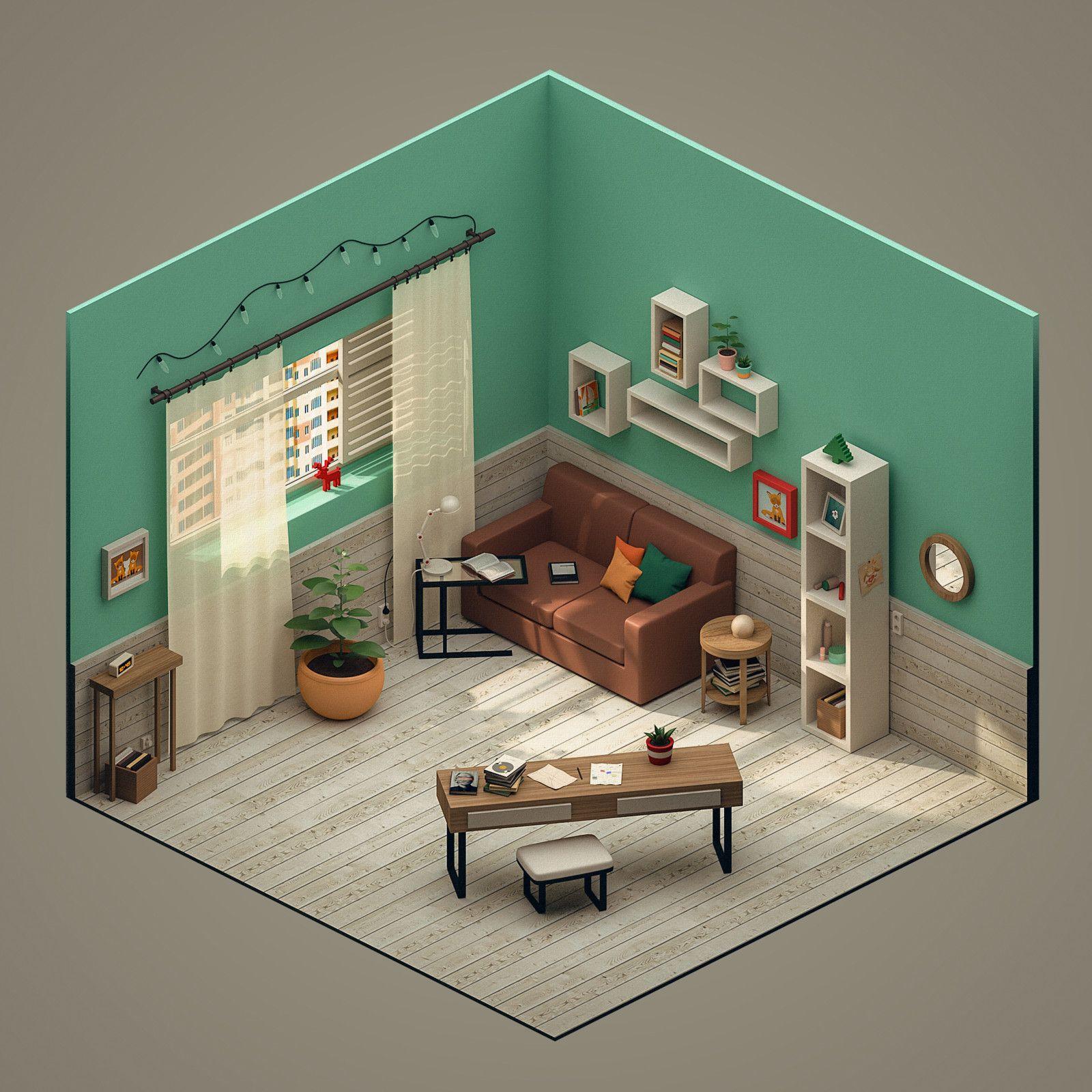 Isometric 3d Room Polina Leskova On Artstation At Https Www