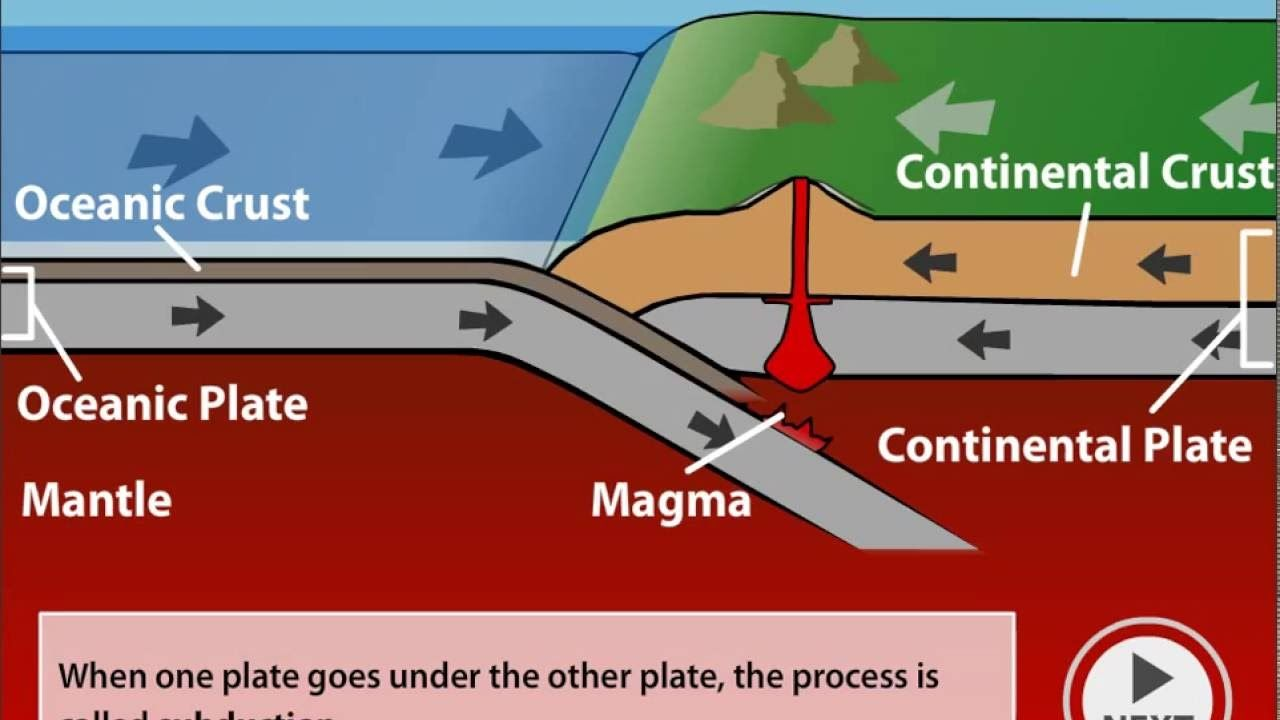 Convergent Boundary Continent To Ocean Google Search Plate Tectonics Continents Diagram