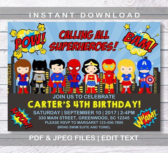 Superhero Invitation Superhero Birthday Invitation Instant