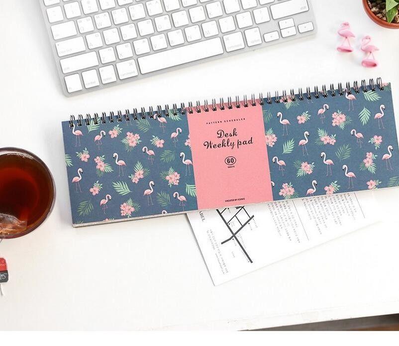 Flamingo espiral mesa planejador semanal Pad 60 folhas em Caderno de Escritório & material escolar no AliExpress.com | Alibaba Group
