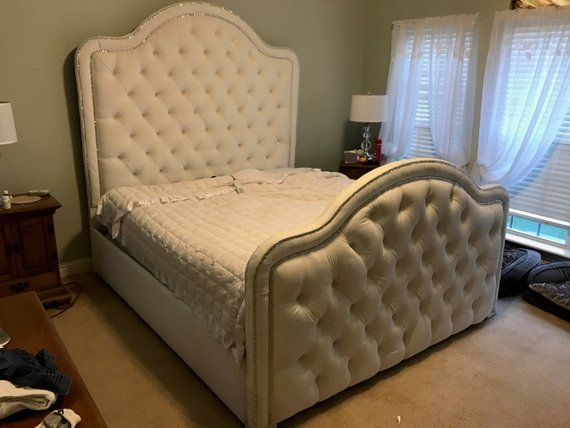 Upholstered Bed Extra Tall Headboard Footboard Rails Bed Frame King