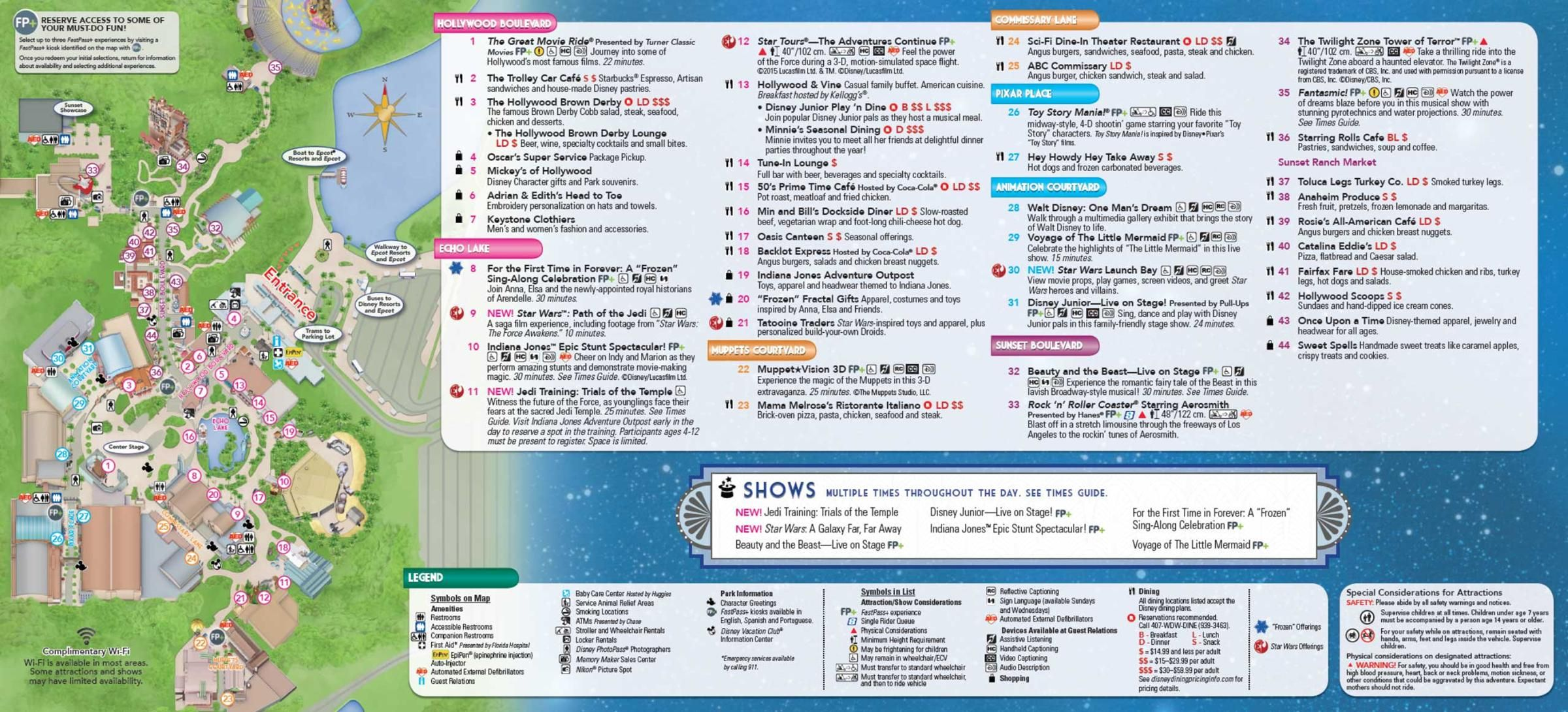 Disney's Hollywood Studios Guide Map May 2016 - Back