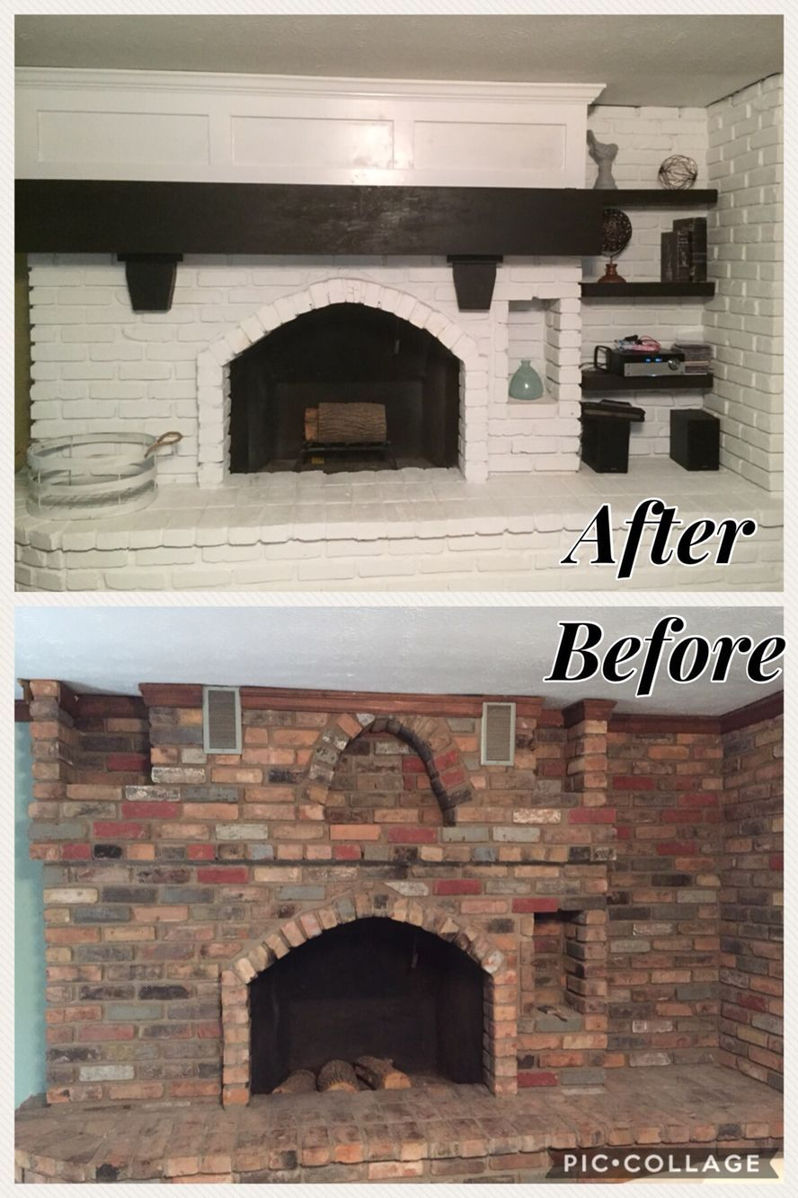 Before and after brick fireplace makeover fireplacediy fireplace