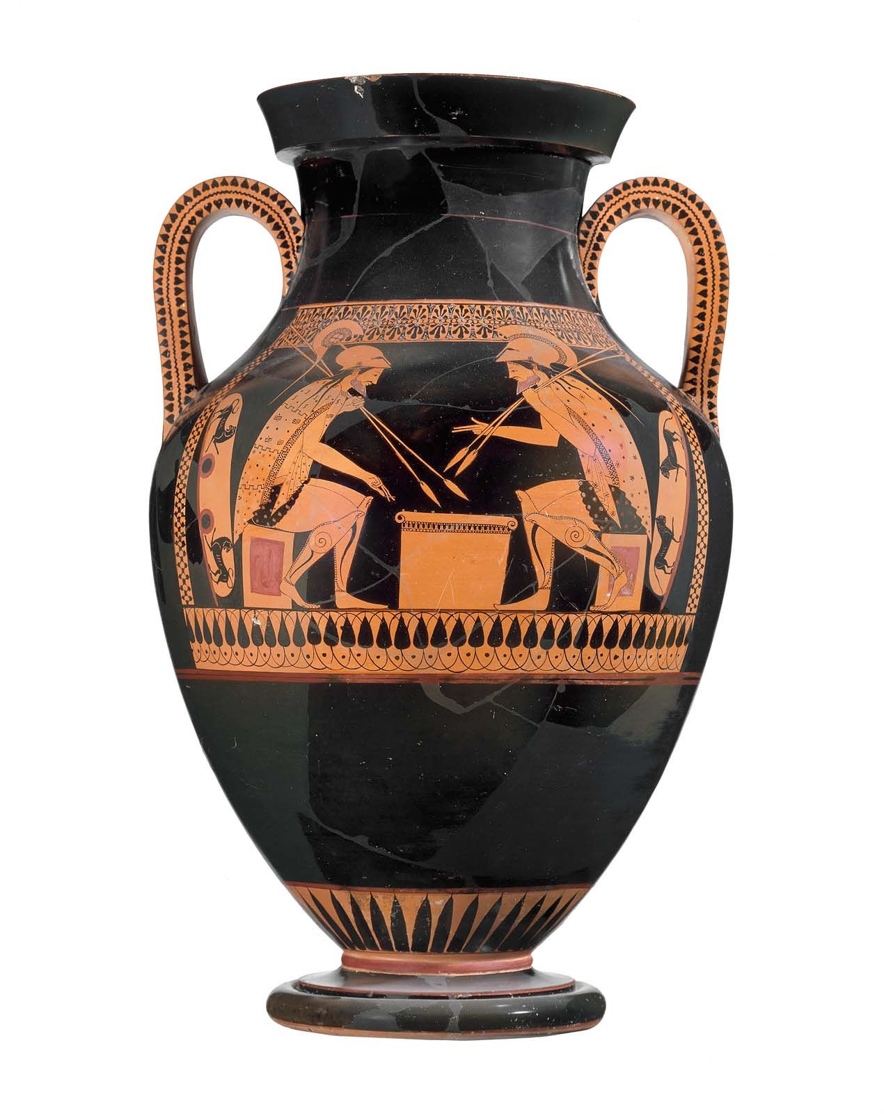 Two Handled Jar Amphora With Achilles And Ajax Museum Of Fine Arts