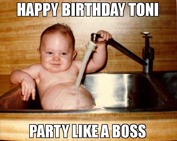 Happy Birthday Toni Party Like A Boss Meme Epicurist Kid Birthday Quotes Funny Funny Birthday Meme Funny Happy Birthday Pictures