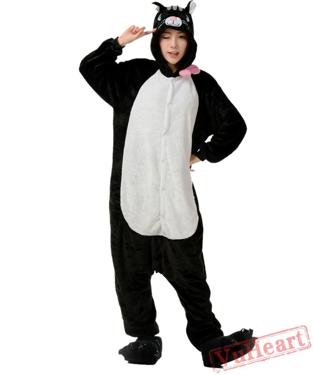 4a7ce85245a4 Black Cat Kigurumi Onesies Pajamas Costumes for Women   Men