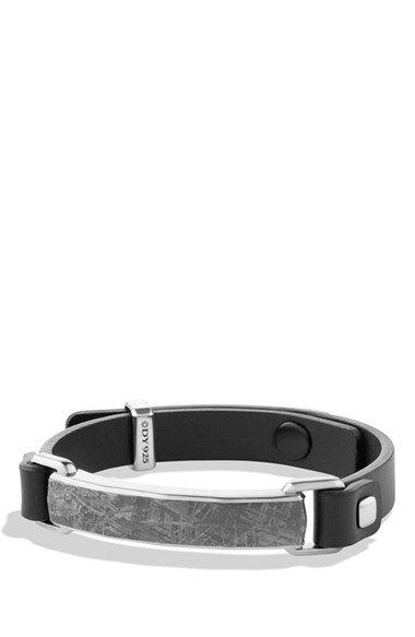 fb59517440224 David Yurman 'Meteorite' Leather ID Bracelet in Black available at ...