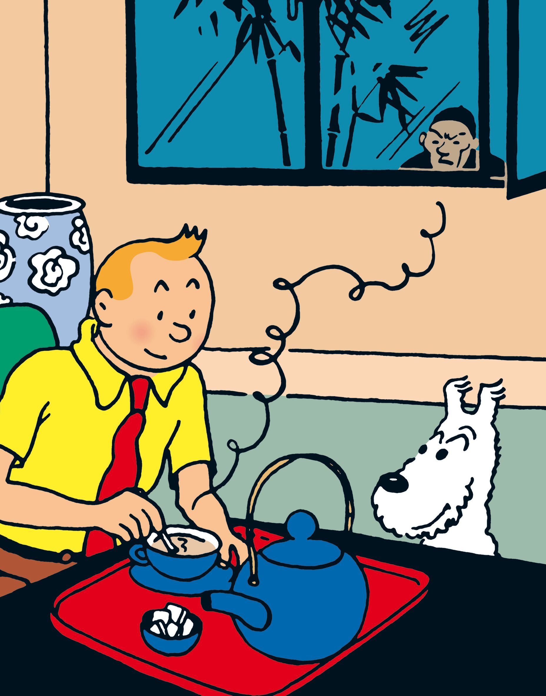 Tintin and Snowy drinking tea in The Blue Lotus, while a shadowy figure looms outside the window.