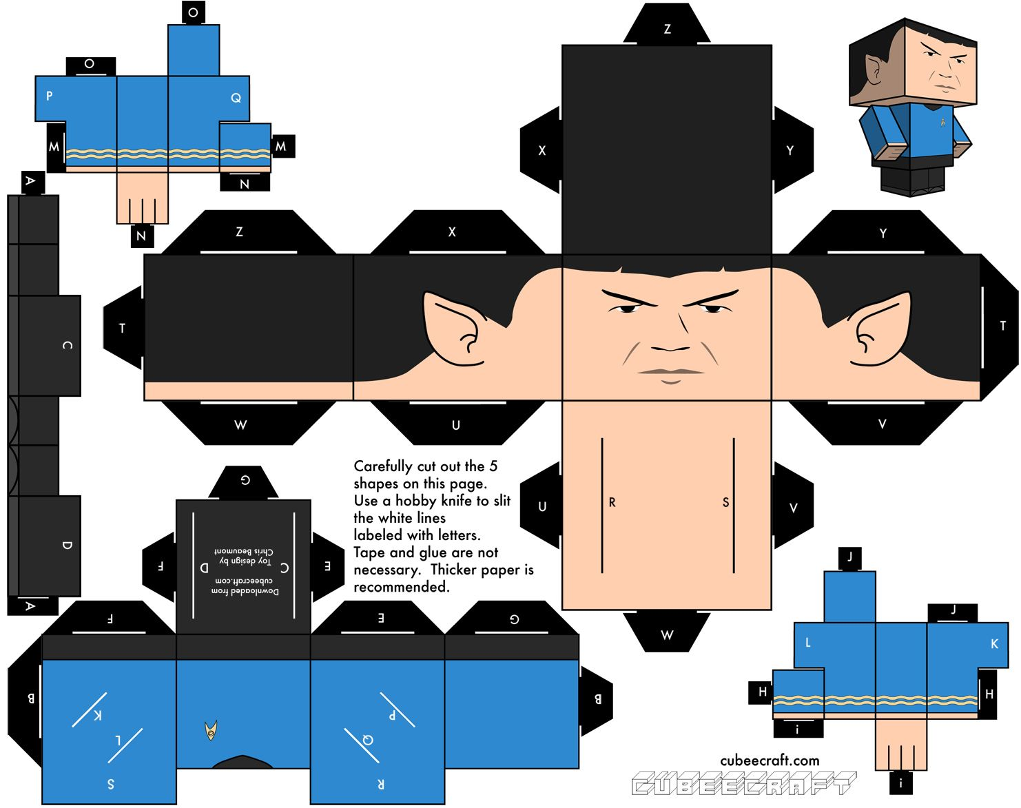 Diy coutout cubee paper character spock from star trek epic diy coutout cubee paper character spock from star trek pronofoot35fo Choice Image