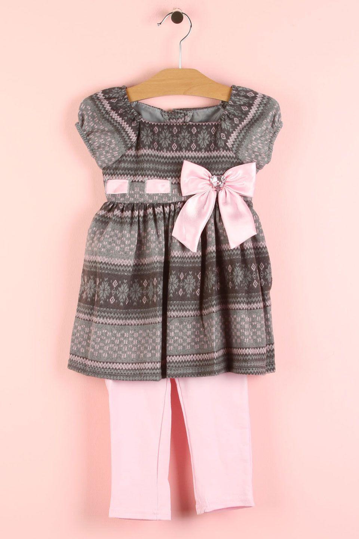 2-Piece Dress & Legging Set In Pink & Grey