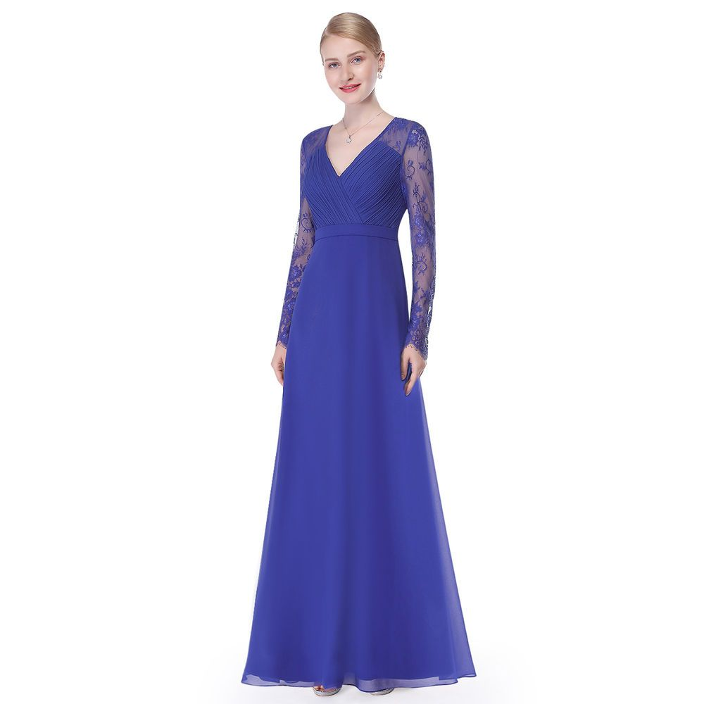 Ever Pretty Women V-neck Long Evening Bridesmaid Party Dress Formal ...