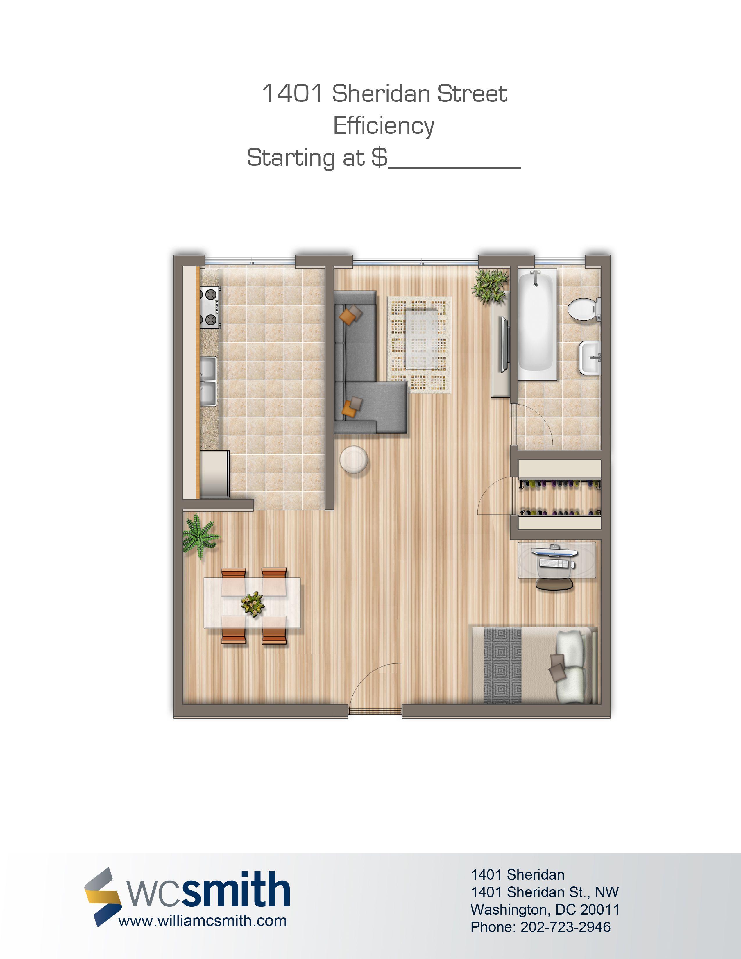 1401 Sheridan St N W One Bedroom Apartment Locker Storage Floor Plans