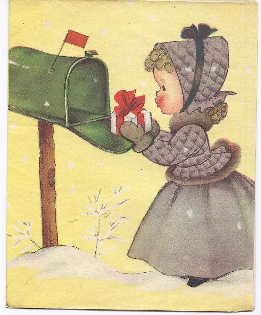 little girl mailing christmas gift - Mailing Christmas Cards