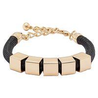 Roberto by RFM Metal Square & Cord Bracelet