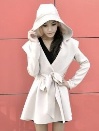 Hooded Belted No-buttons Trench Coat Black - BuyTrends.com $30