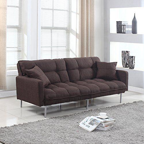 modern plush tufted linen fabric sleeper futon  divano roma furniture presents this ultra modern living room futon with split back feature in fun colors  modern plush tufted linen fabric sleeper futon divano rom    https      rh   pinterest