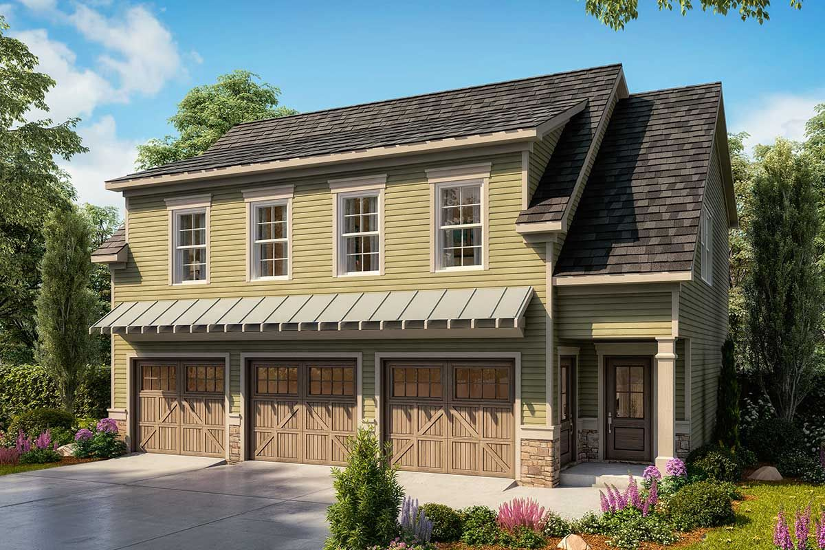 Plan 360063dk 3 Car Carriage House Plan With Two Upstairs Bedrooms In 2020 Carriage House Plans Garage Guest House Carriage House Garage