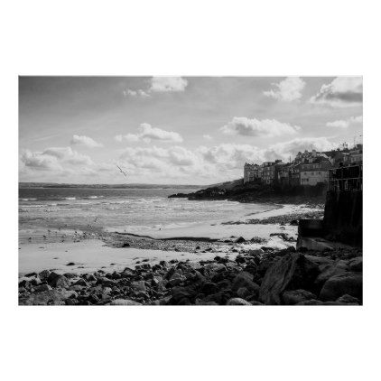 Tranquillity at the beach poster black and white gifts unique special bw style