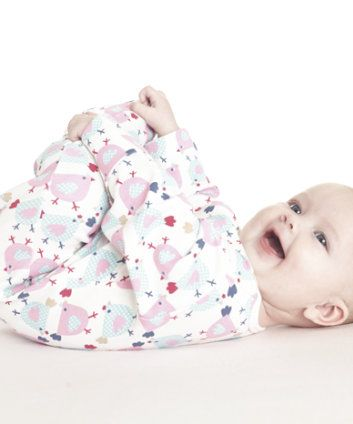 Mothercare Hen Print Sleepsuit. Snuggly and soft, our bright sleepsuit features a colourful pink and navy hen print.