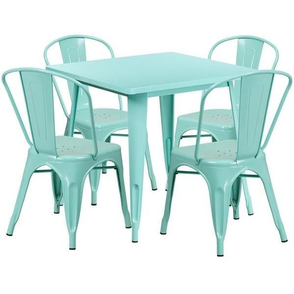 31 5 Square Metal Indoor Outdoor Table Set With 4 Stack Chairs 12