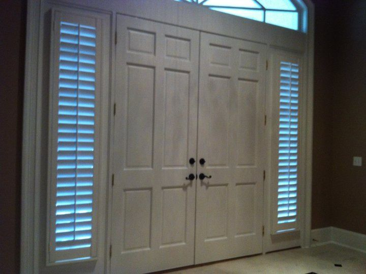 Sidelights Door Wood Shutters Plantation Shutters