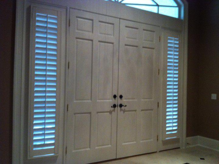 Sidelights Door. Wood Shutters. Plantation Shutters. Jacksonville, Florida.  Mastercraft Shutters And