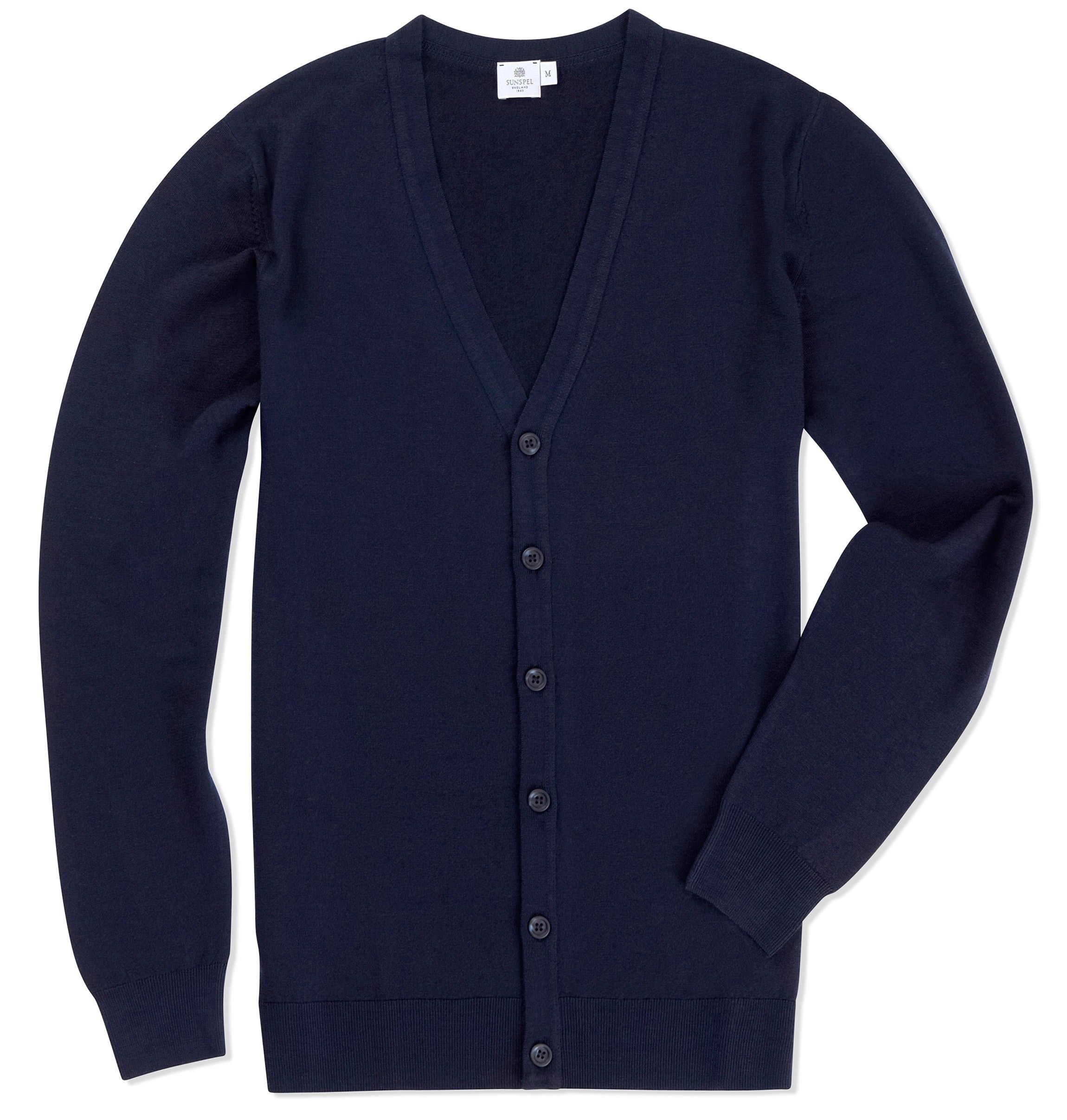 Men's Fine Merino Wool Cardigan, Light Navy | Sunspel | clothes ...