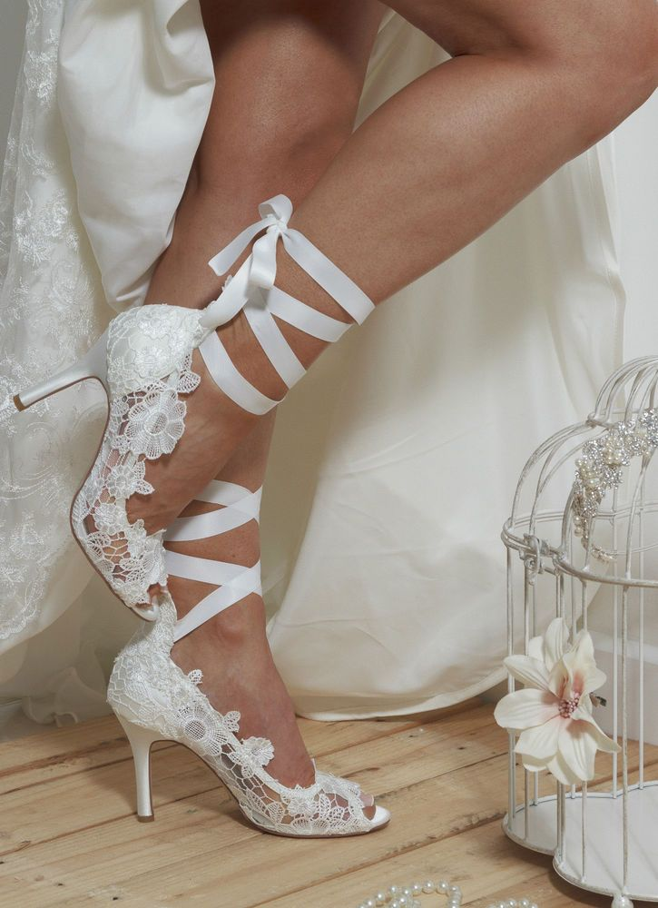 Details About Ivory Satin Bridal Wedding Shoes Vintage Lace Padded