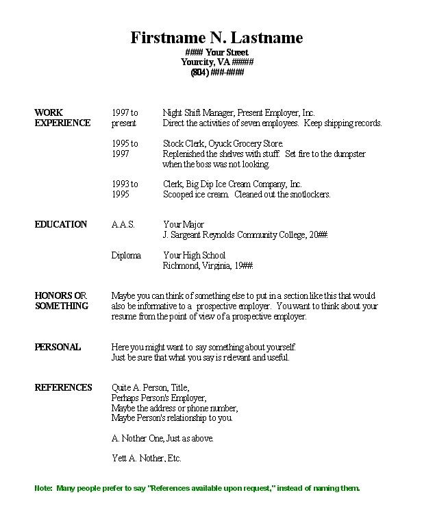 work resume template microsoft word