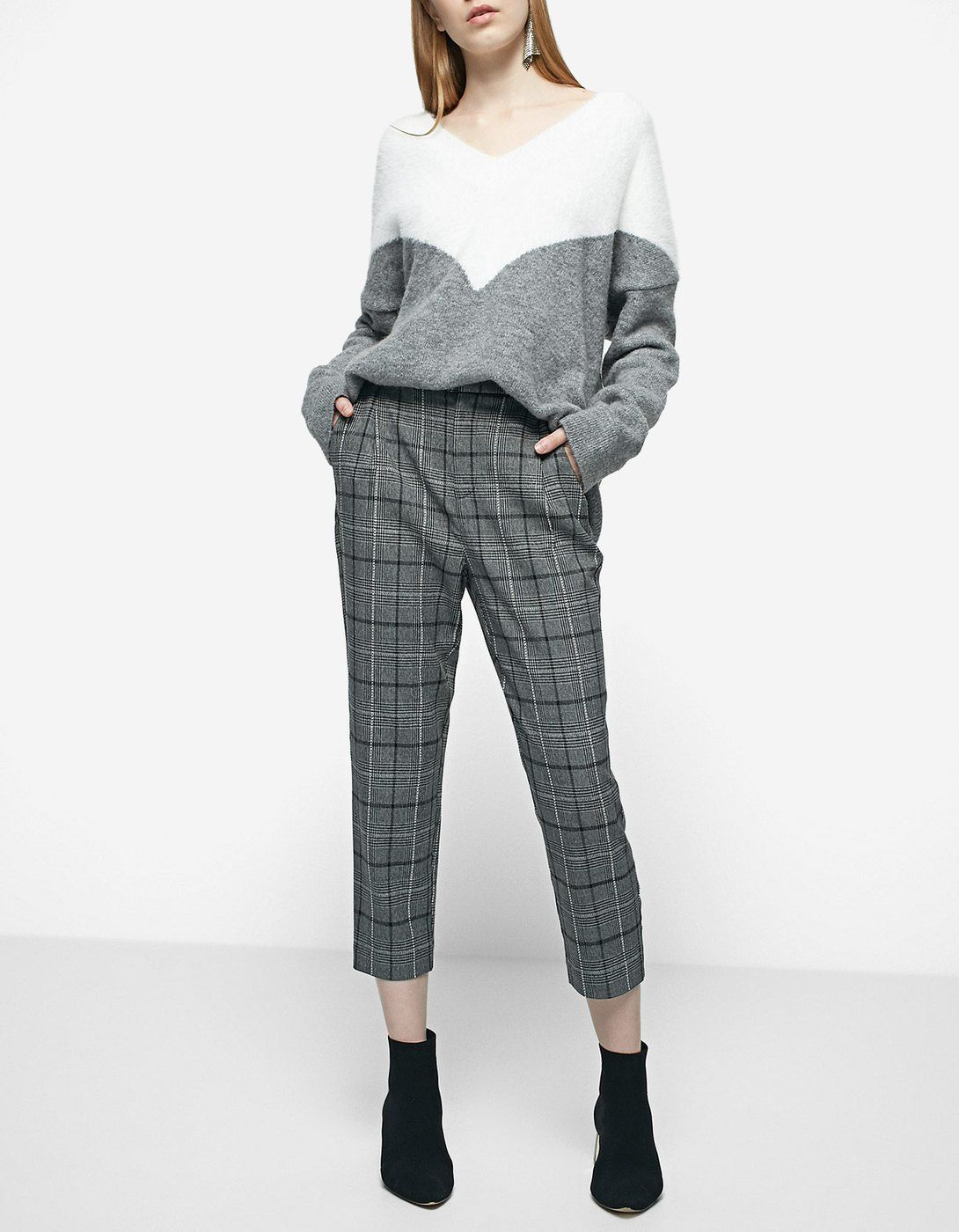 Checked carrot fit worker trousers - JUST IN   Stradivarius Israel ... 815cf0cdb7ca