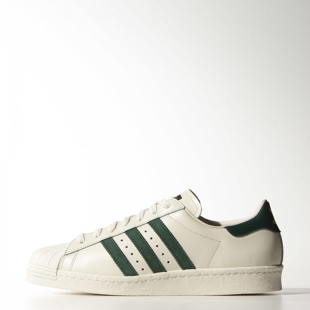 adidas Originals Footwear Superstar 80s Vintage Deluxe Trainers Vintage White Collegiate Green Off White