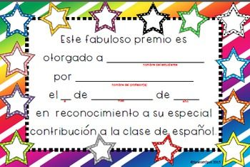 Spanish award certificates for students spanish certificate and 10 different printable spanish award certificates for students your class will want to collect them yadclub Gallery
