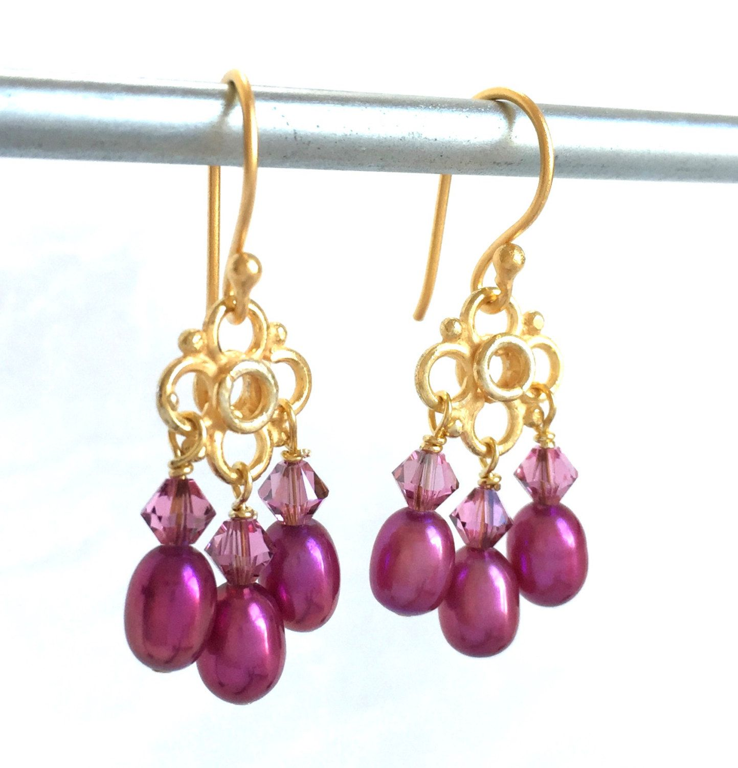 Bijou earrings with purple roses and pale cotton pearl jewelry