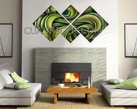 Cuadro 1637 furia verde para salones en tema abstracto - Cuadros abstractos para salon ...