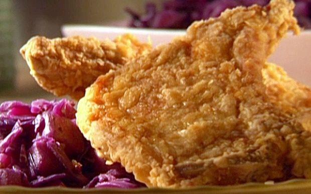 Crispy Fried Pork Chops with Chunky Pear Chutney