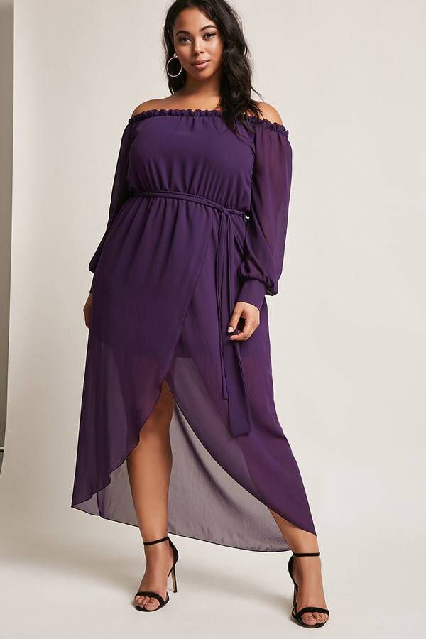 cdbba56369d Plus Size Off The Shoulder Maxi Dress.  plussize aff