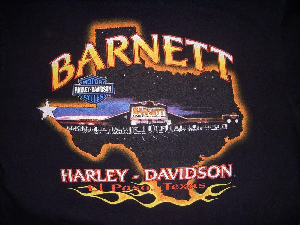 Vintage Men's Harley Davidson Barnett El Paso Texas Black T-Shirt Large